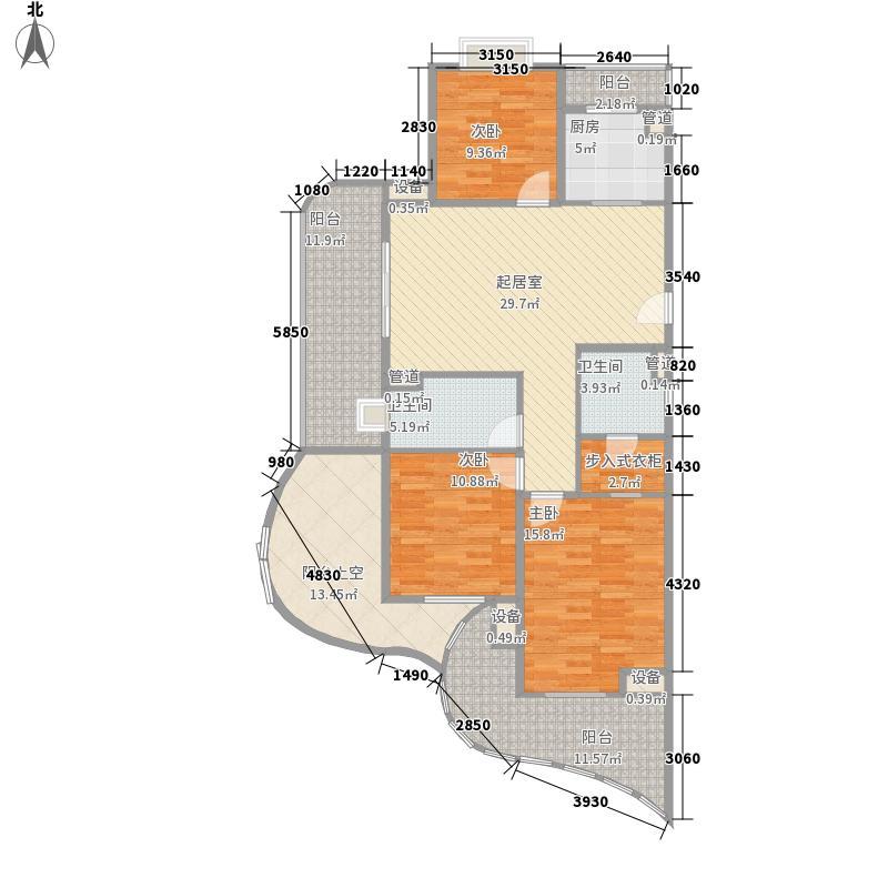 白金海岸120.36㎡白金海岸户型图奇数层西1套C户型3室2厅2卫1厨户型3室2厅2卫1厨