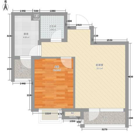 金融街・金色漫香郡1室0厅1卫1厨57.00㎡户型图