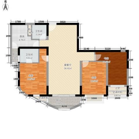 江岸名都3室1厅2卫1厨142.00㎡户型图