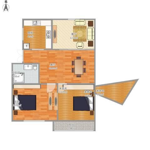 车站新村1室2厅1卫1厨112.00㎡户型图
