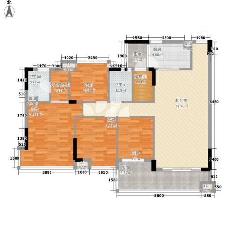 置业大厦4室0厅2卫1厨137.00㎡户型图