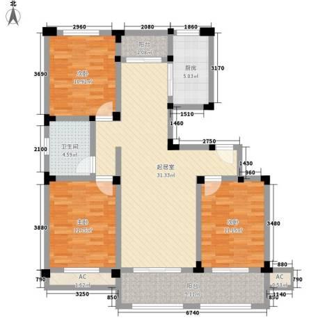 芦墅星苑3室0厅1卫1厨130.00㎡户型图