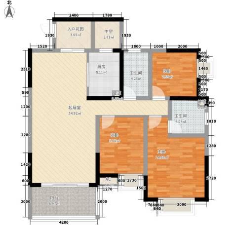 劲嘉山与城3室0厅2卫1厨137.00㎡户型图