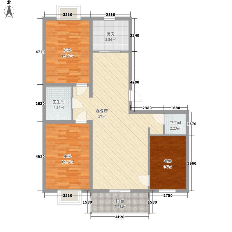 恒泰盛都户型图半3室2厅 3室