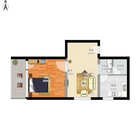 地铁古城家园1室1厅1卫1厨70.00㎡户型图