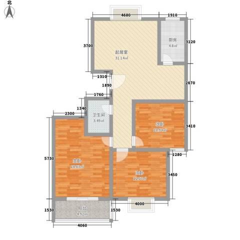 仲宫国际风情街3室0厅1卫1厨124.00㎡户型图
