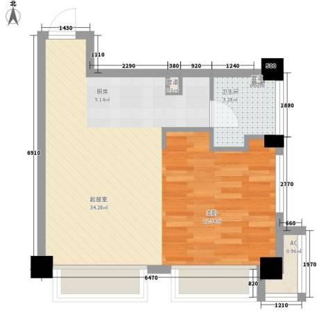 巴比伦国际广场1卫0厨56.00㎡户型图