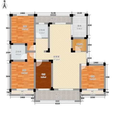 芦墅星苑4室0厅2卫1厨171.00㎡户型图