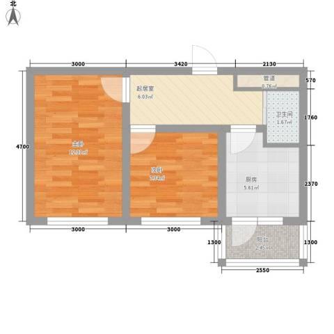 先行国际2室0厅1卫1厨54.00㎡户型图