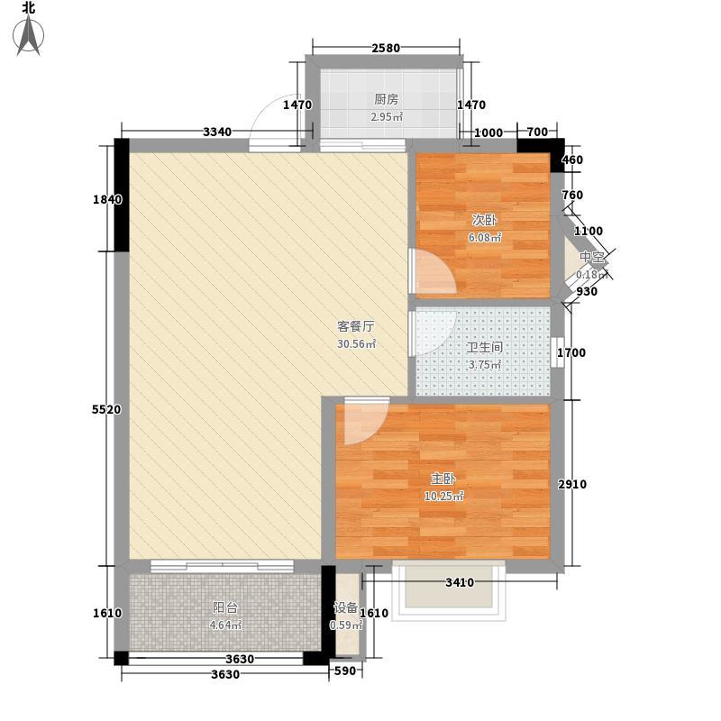 合通铂金公寓83.68㎡F户型2室2厅1卫1厨