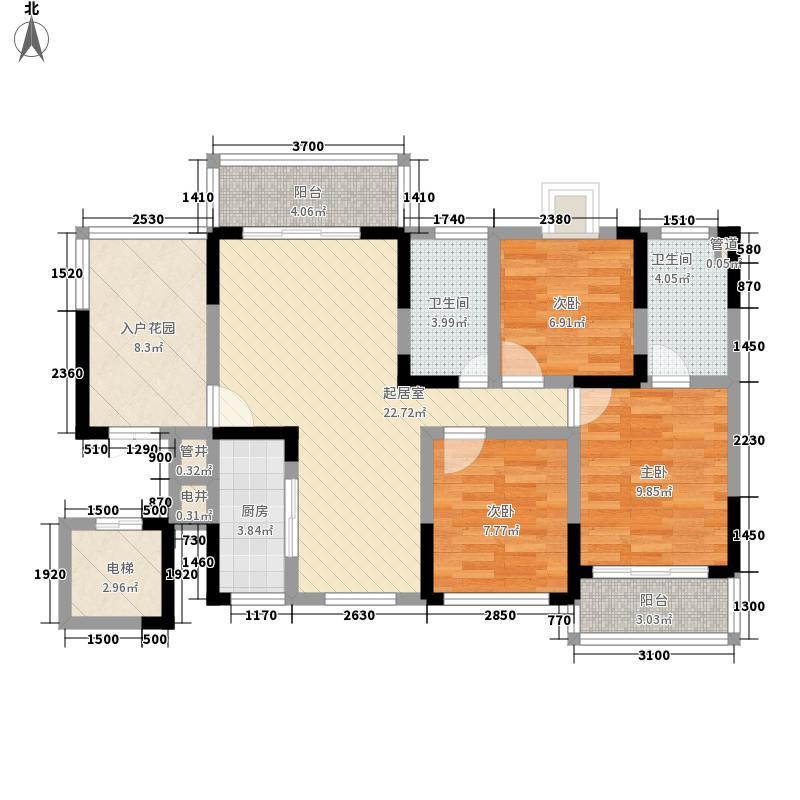 泰和天成户型图一期1号楼B户型 3室2厅2卫1厨