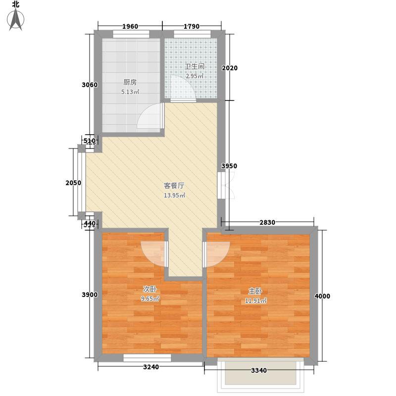 香山景园65.57㎡香山景园两室一厅一卫约65.57平米户型图户型2室1厅1卫