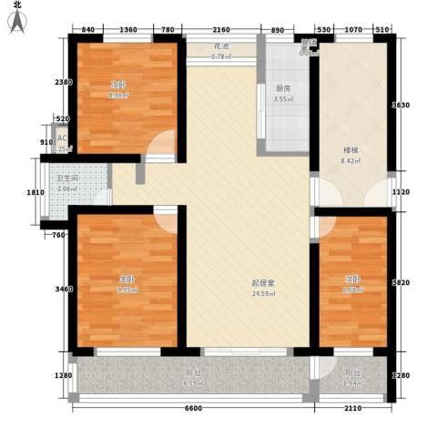金榜华庭3室0厅1卫1厨108.00㎡户型图