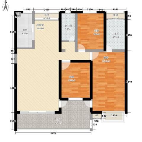 金榜华庭3室0厅2卫1厨130.00㎡户型图