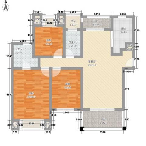 莱蒙水榭春天3室1厅2卫1厨130.00㎡户型图