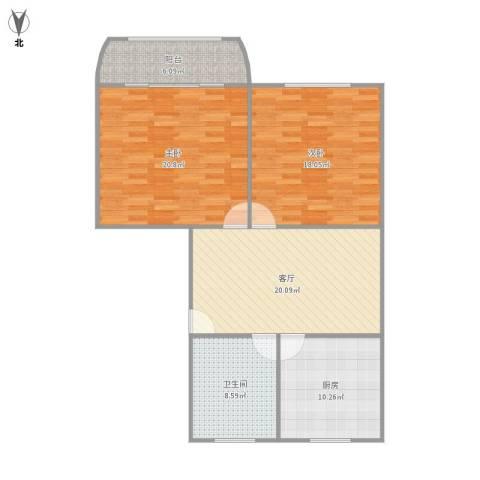 金虹苑2室1厅1卫1厨112.00㎡户型图