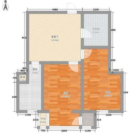 和泰馨城2室1厅1卫1厨66.00㎡户型图