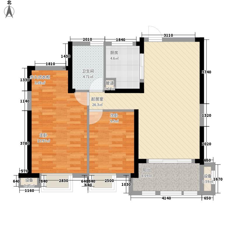 正荣御朝阳一期御园4.00㎡一期高层2#、3#楼C2户型2室2厅1卫1厨