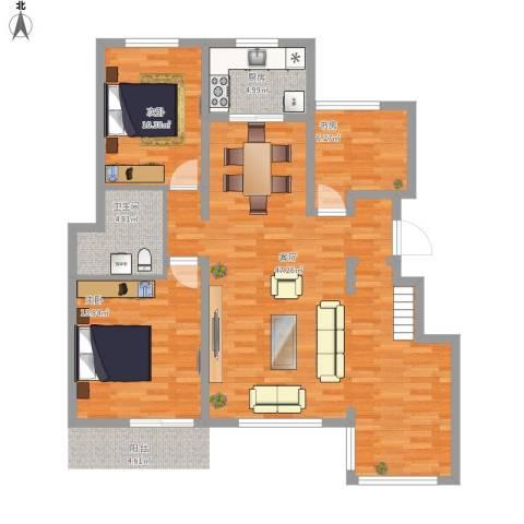 万科蓝山A63室1厅1卫1厨123.00㎡户型图
