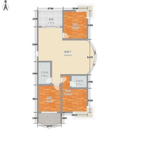 翠月嘉苑3室1厅2卫1厨148.00㎡户型图