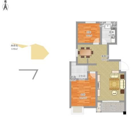 浦发博园别墅2室1厅1卫1厨90.00㎡户型图