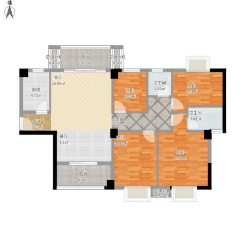 蔚蓝国际4室1厅2卫1厨137.00㎡户型图