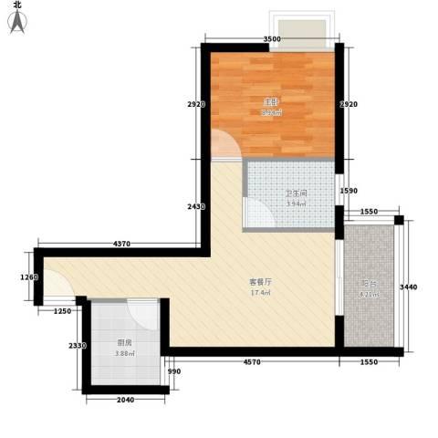 五指山・天之城1室1厅1卫1厨56.00㎡户型图