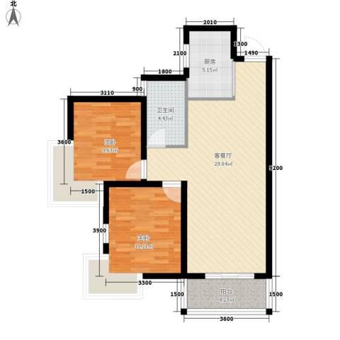五指山・天之城2室1厅1卫1厨87.00㎡户型图
