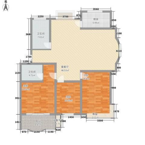 正大明泉花园3室1厅2卫1厨142.00㎡户型图