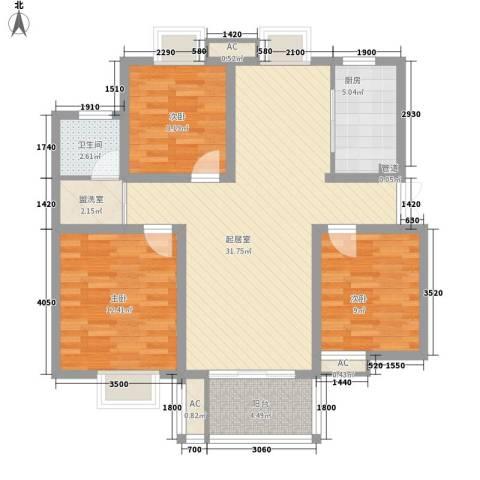 四季新城金典3室0厅1卫1厨113.00㎡户型图