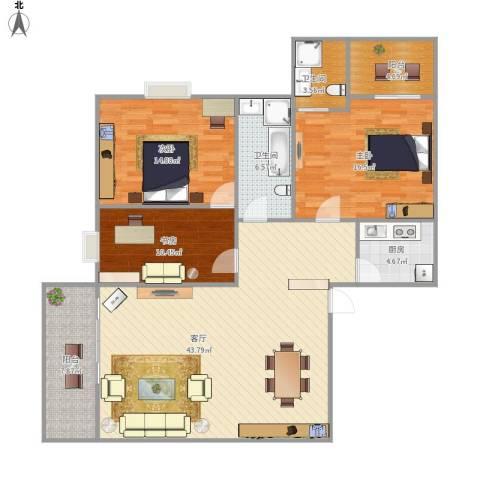 海上明珠家园3室1厅2卫1厨137.00㎡户型图