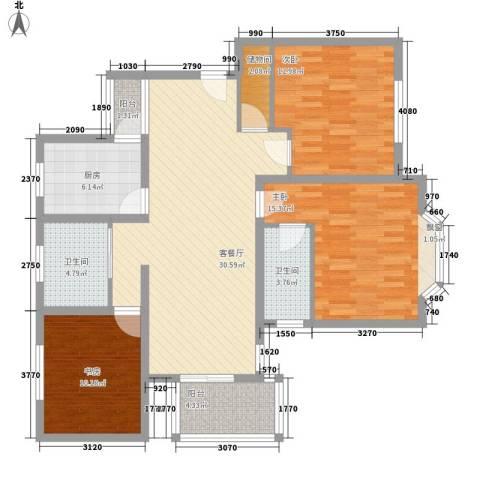上海未来黄山新城3室1厅2卫1厨129.00㎡户型图
