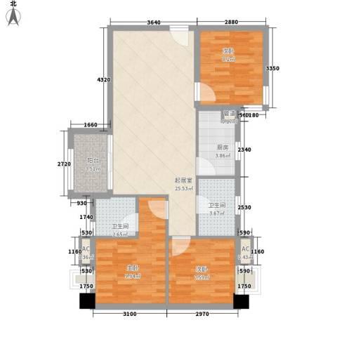 泮塘路小区3室0厅2卫1厨95.00㎡户型图