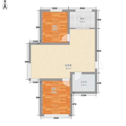 红光秀苑2室0厅1卫1厨86.00㎡户型图