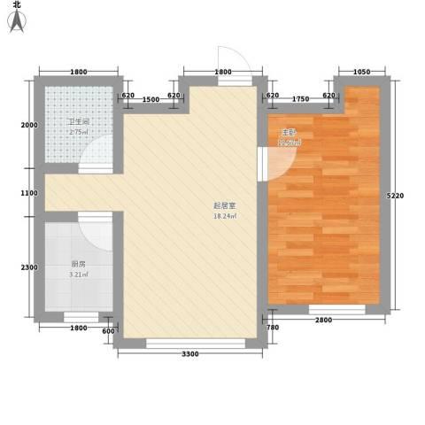 红光秀苑1室0厅1卫1厨55.00㎡户型图