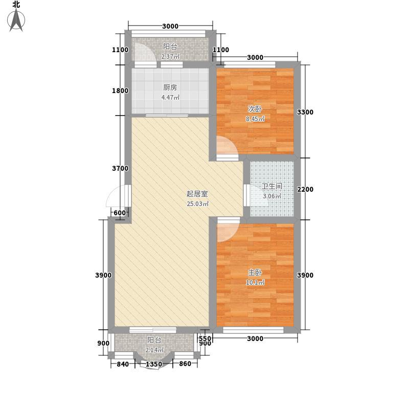 红光秀苑81.20㎡二、三、四号楼15层P户型2室2厅1卫1厨