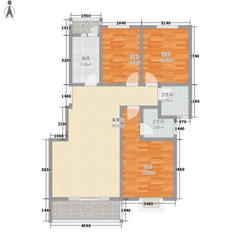 尚苑壹品3室1厅2卫1厨118.00㎡户型图