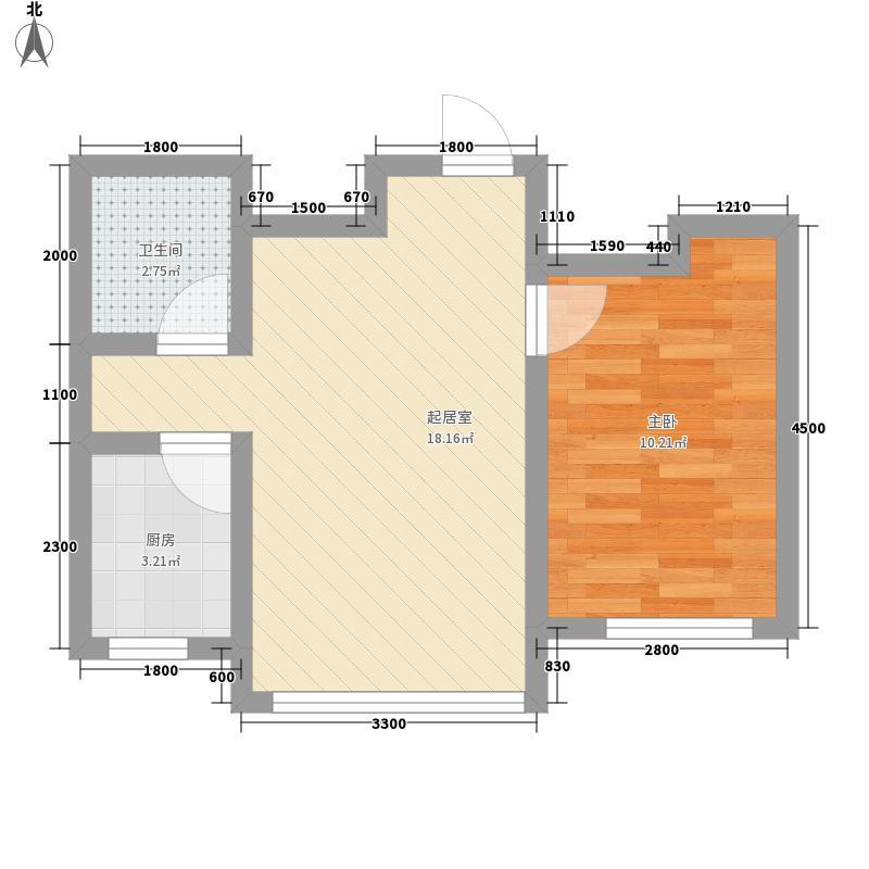 红光秀苑55.20㎡一号楼2-10层H户型1室2厅1卫1厨