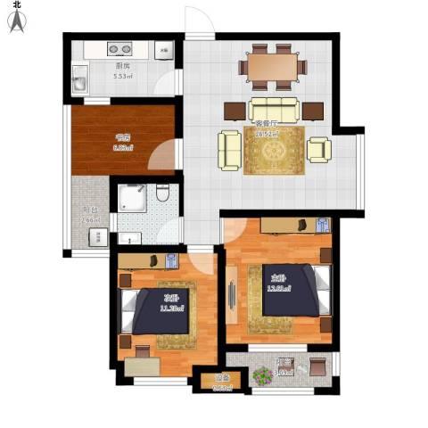 融侨天骏2室1厅1卫1厨105.00㎡户型图