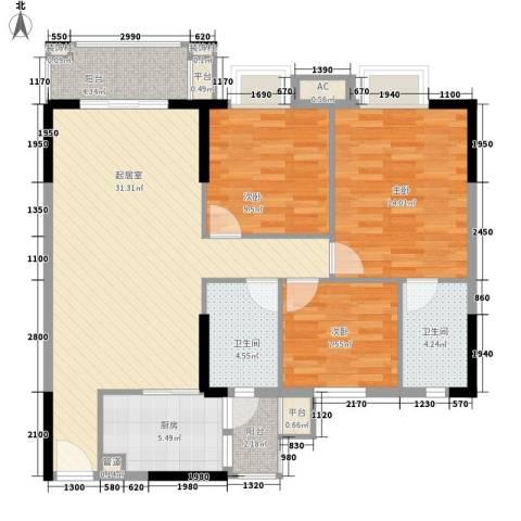 康格斯花园3室0厅2卫1厨89.00㎡户型图