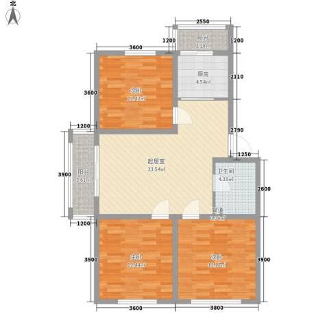 湖东小区3室0厅1卫1厨107.00㎡户型图