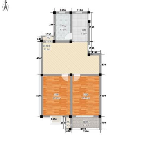 上林苑2室0厅1卫1厨72.02㎡户型图