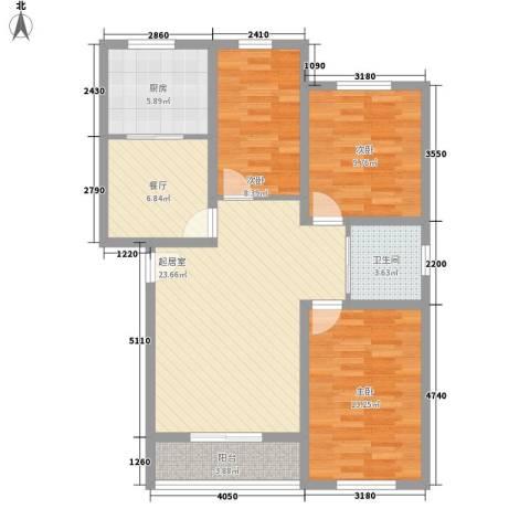 月潭爱丁堡3室1厅1卫1厨108.00㎡户型图