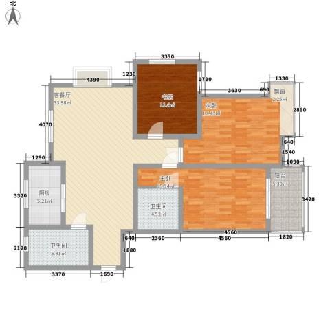金水华都3室1厅2卫1厨142.00㎡户型图