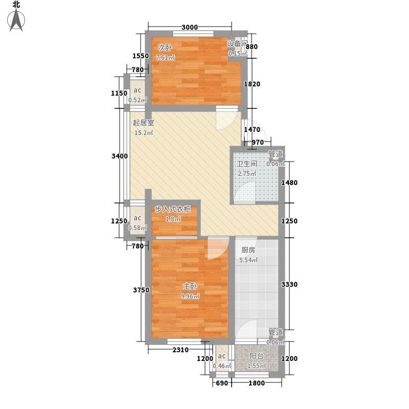 世代龙泽湾59.00㎡世代龙泽湾2室户型2室