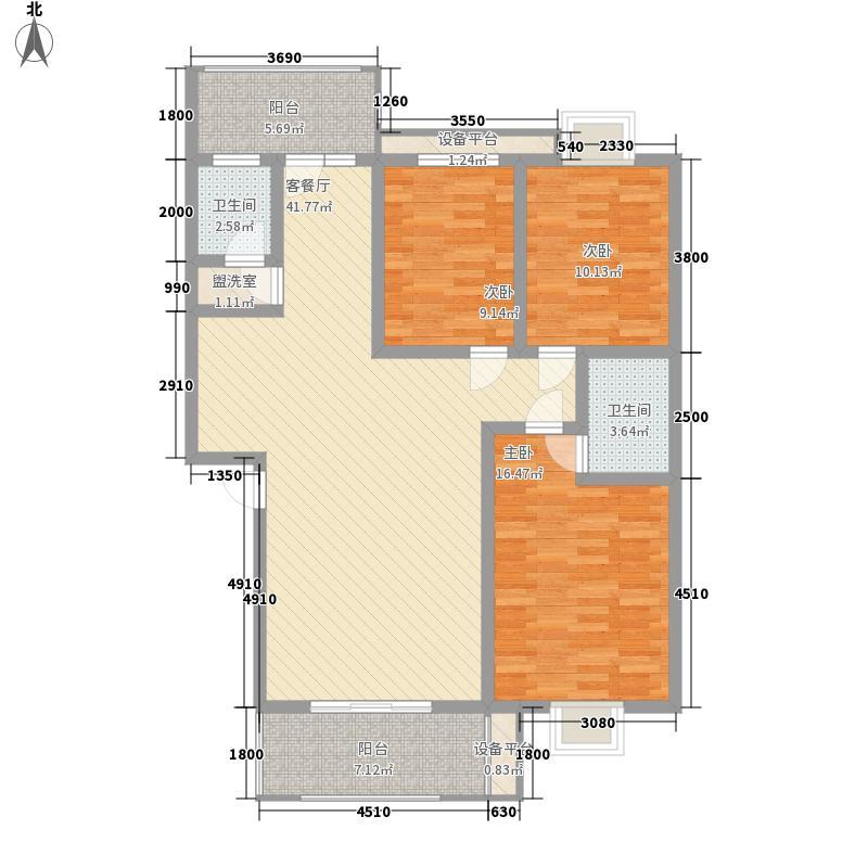 公园绿涛湾113.66㎡6、8#B户型3室2厅2卫1厨