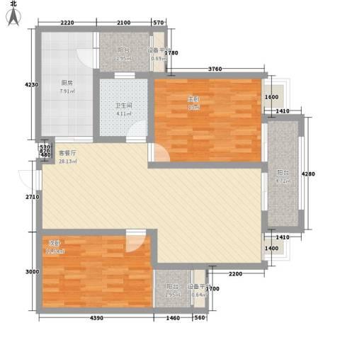 金水华都2室1厅1卫1厨110.00㎡户型图