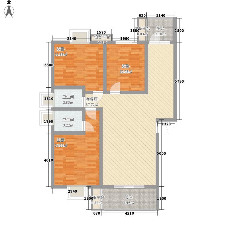 公园绿涛湾18.33㎡东园3栋A型户型3室2厅2卫1厨