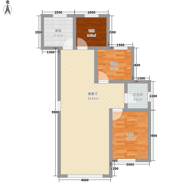 天鸿・星悦国际6.00㎡D户型3室2厅1卫1厨