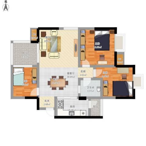 凯丽景湖三期3室1厅1卫1厨112.00㎡户型图